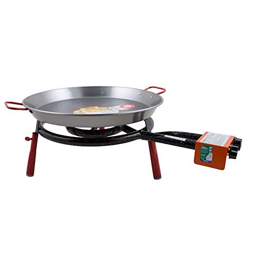 Garcima Valencia Paella Pan Set with Burner, 18 Inch Carbon Steel Outdoor Pan and Mini Legs Imported from Spain (12 Servings)
