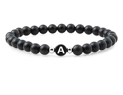 Partner Armband mit Buchstaben in Schwarz – Pärchen Geschenke mit Naturstein Perlen (Buchstabe A)