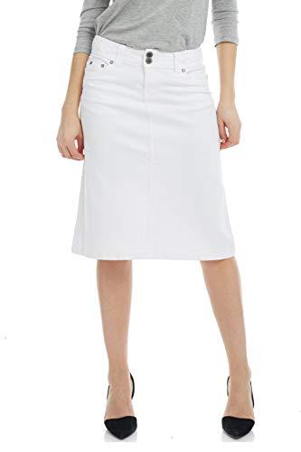 ESTEEZ Women's Denim Skirt – A Line Jean - Below Knee Sydney White 18