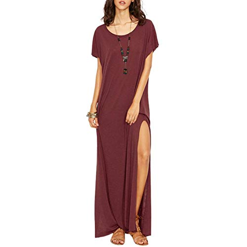 ZYZYY vrouwen korte mouwen Solid Color Split O-hals losse Leisure Summer Chic jurk