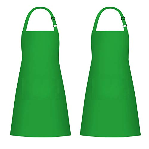 Jubatus 2 Pack Bib Aprons with 2 Pockets Cooking Chef Kitchen Apron for Women Men, Green