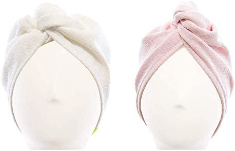 AQUIS Original Hair Turbans Set of 2 Perfect Hands Free Microfiber Hair Drying White and Pink product image