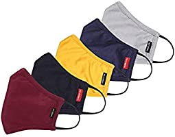 Fritzberg Cotton Reuseable Cloth Mask (Multicolor, Without Valve, Pack of 5) for Unisex