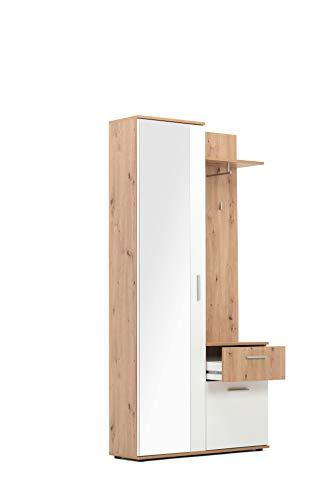 Kompaktgarderobe - Diele (B/H/T: 97 x 196 x 30 cm) Komplett-Set | 2 Türen, 1 Schubkasten, 1 Spiegel inkl. Haken und Kleiderstange