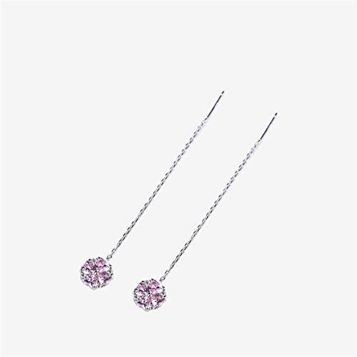 GBKIGCD Pendientes de plata de ley 925 con cuatro hojas, trébol de cristal largo y borla, para mujer, joyas finas, moda simple