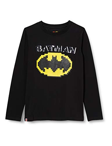 LEGO Jungen MW-Langarmshirt Wendepailletten Batman T-Shirt, 995 Black, 134