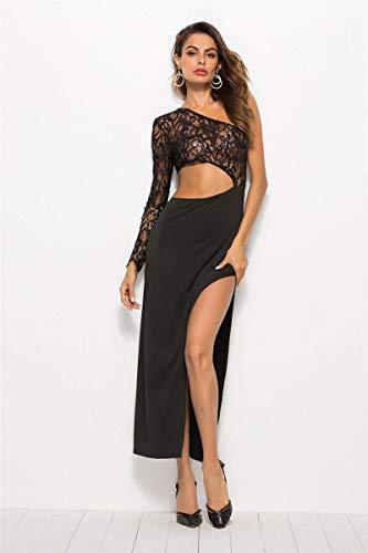 Dresses Hübsche Kleid Kleider Damen Hoch Geschlitzte Schwarze One-Shoulder-Party Prom Langarm Black Lace Stitching Sexy
