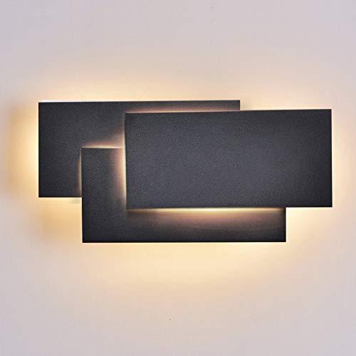 Ralbay 24W Moderno Lampade da Parete per Interni Led Nero, Applique da Parete Impermeabile IP20 Lampada Muro in Alluminio 2700~3200K Bianco Caldo