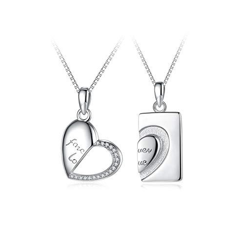 Partner-Ketten Mit Laser-Gravur Partnerschmuck 925 Sterling Silber Anhänger Paar Halskette Geschenk Für Liebste,Silber
