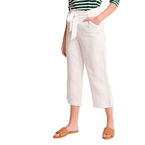 Superdry Eden Linen Trouser Pantalones, Marfil (Chalk White Fu4), 46 (Talla del Fabricante: 32) para Mujer