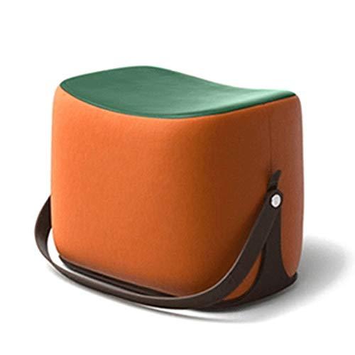NNHDWS Sofa Footstool, Saddle Fabric Footstool, Household Cloakroom Shoe Changing Stool, Footstool, Leather Stool, Sofa Stool Single, green + orange