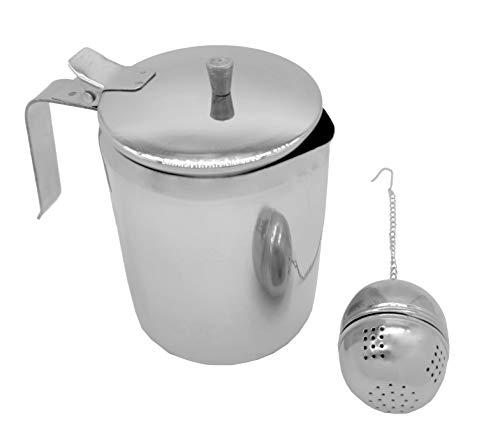 Pack de Tetera de acero inoxidable de 500ml y Colador de té de acero inoxidable, filtro para infusiones (Tetera 500ml + Colador)