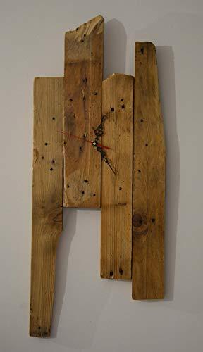 Reloj de pared de madera recuperada blanco moderno hecho con plataforma diseño rustico