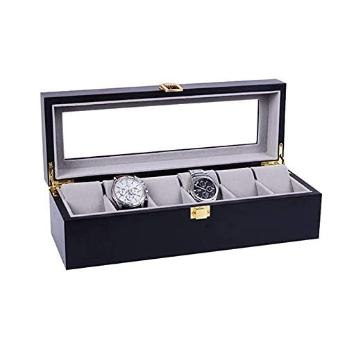 ELXSZJ XTZJ Caja de Reloj para Hombres - 6 Ranura de diseño de diseño de Lujo, Soporte Grande, Hebilla metálica