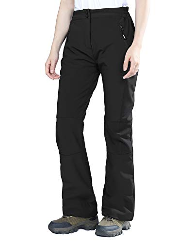 Outdoor Ventures Women's Sleek Waterproof Softshell Fleece Lined Ski Snow Insulated High Rise Hiking Pants with Bottom Zipper