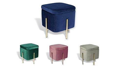 Avior Home Sitzhocker Schminkhocker aus Samt Sitzwürfel Aufbewahrungsfußhocker mit Metallbeine Quadrat (Blau)