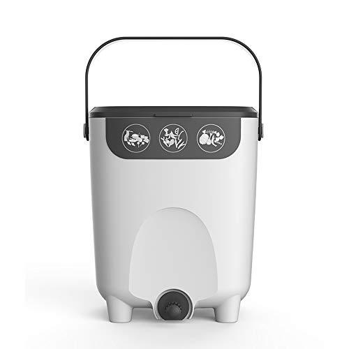 Contenitore per compost da cucina da 10 litri, Contenitore per il compostaggio della fermentazione domestica coperto, Pattumiera con rubinetto, Fertilizzante organico nutrizione casalinga del giardi