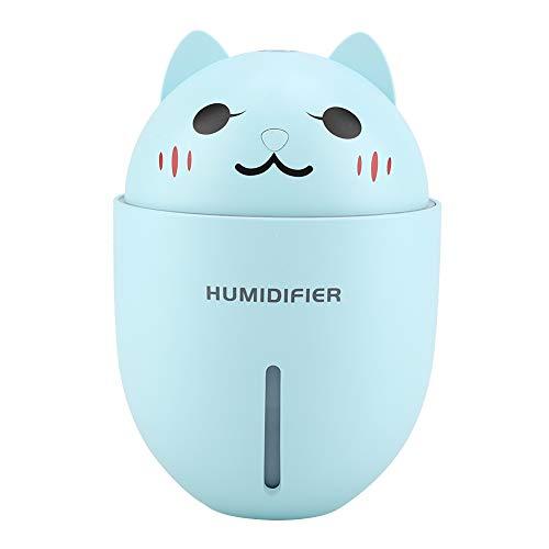 T beste mini-luchtbevochtiger, multifunctionele mini-USB-luchtbevochtiger, draagbare ultrasone bevochtiger in kitty-vorm met led-nachtlampje, luchtreiniger, miniventilator en USB-kabel