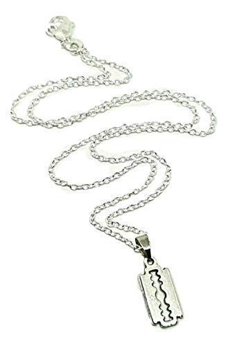 Eclectic Shop Uk Mini Rasierklinge Anhänger auf eine Silberfarben Halskette Süß