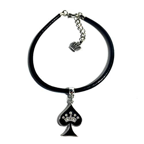 His and Hers Intimates  Queen of Spades Anklet Jewelry - HotWife, Queen, Hot Wife, Bracelet, Infinity,Necklace, BBC, QOS, MFM, Swinger, Cuckold, Polyamory (Leather Cord Anklet)