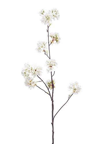 artplants.de Set 6 x Kunstzweig Zierpfirsich Zweig Florence, weiß, 105cm - Kunst Pfirsich Zweig