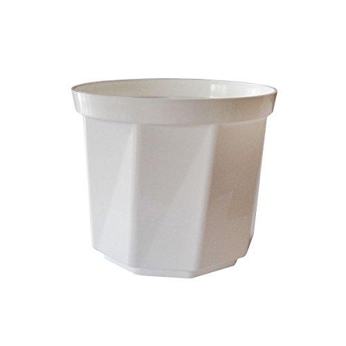 greemotion Blumentopf Tim in Weiß, Blumenkübel rund, Übertopf mit glänzender Oberfläche, Pflanztopf, Pflanzgefäß, Pflanzen-Zubehör