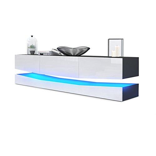 Vladon TV Board Lowboard City, Korpus in Schwarz matt/Fronten in Weiß Hochglanz inkl. LED Beleuchtung