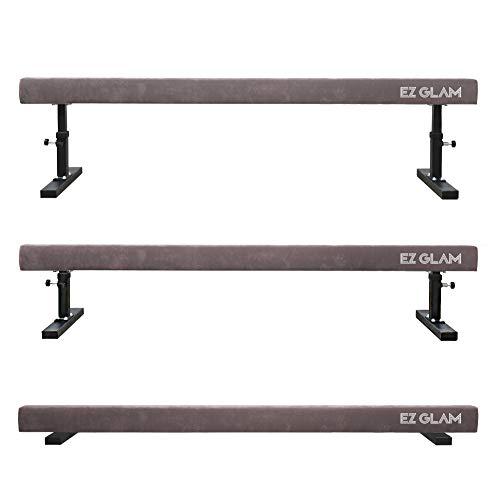 EZ GLAM Gymnastics Adjustable Balance Beam 8 Ft 6Ft Wood Core Skill Performance Home Training Gymnastics Equipment (Gray, 6)