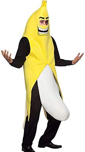 Keepmoving Bananenkostüm Herren Bananaman Anzug Banane Kostüm Männer Bananenanzug Party-Teufel Bodysuit Einheitsgröße Hallween Karneval Fasching Party