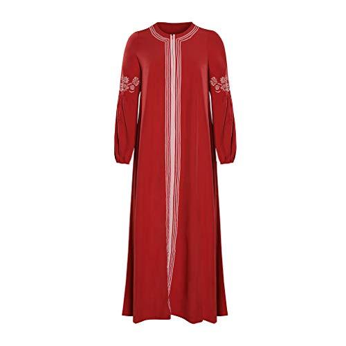 Lazzboy Muslimisches Kleider Frauen Kaftan Arab Jilbab Abaya Spitze Nähen Maxikleid Damen Langarm Abendkleider Muslim Hochzeit Kleidung Saudi-arabien Rockabilly(Rot,S)