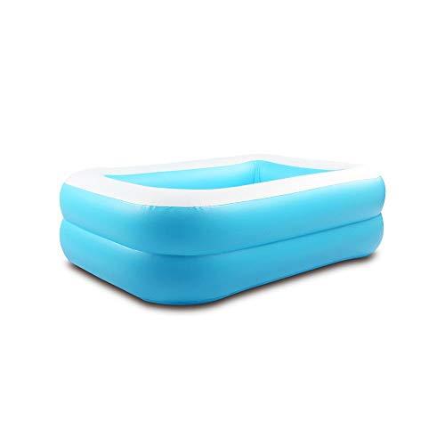 CZYSKY Piscina de Juegos inflables para Nadar, Piscina Rectangular para Nadar en el jardín, Piscina Flotante de natación al Aire Libre 130x95x52cm Azul y Blanco