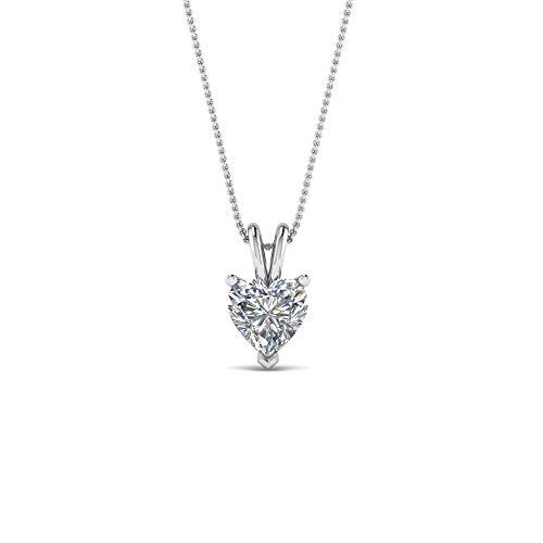 Colgante solitario en forma de corazón de 5 mm a 8 mm con cadena de 45,7 cm en plata de ley 925 chapada en oro blanco de 14 quilates con diamante transparente D/VVS1
