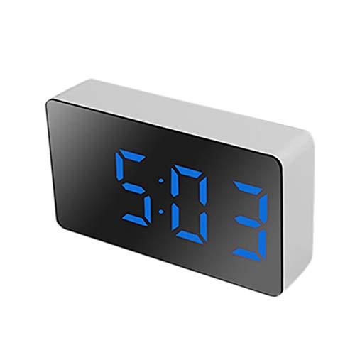 rtyfgh Despertador digital, LED multifuncional espejo reloj electrónico Mini despertador alarma digital Snooze visualización hora noche luz LCD mesa escritorio USB 5v/sin batería decoración del hogar