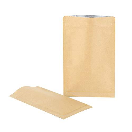 TOPBATHY Sobres Stand Up - Bolsas con cierre hermético de papel kraft con cierre hermético (50 unidades, 8 x 11 cm)