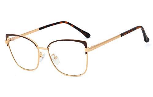 Bloqueo Luz Azul Gafas,Lentes De Ordenador De Moda, Montura De Gafas De Ojo De Gato Para Mujer, Accesorios Ópticos De Metal Dorado Para Mujer, Gafas De Lectura Para Juegos De Lectura Anti-Fatiga Ocul