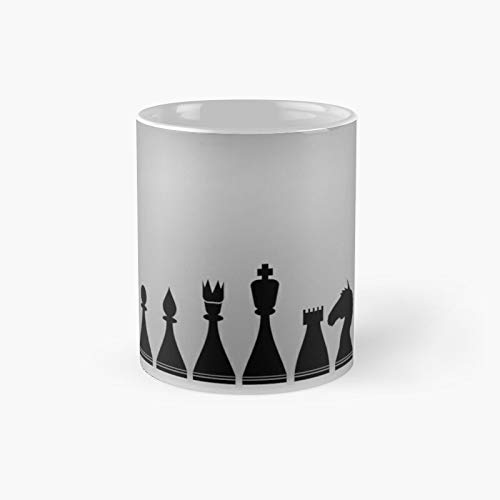 Chess Pieces Silhouettes Classic Mug - Gift The Office 11 Ounces Funny White Coffee Mugs-nilinkep