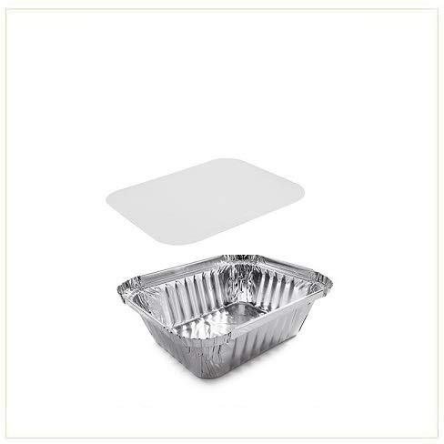 VIRSUS 100 Vaschette in Alluminio Dimensione 1 Porzione Rettangolari Argentate contenitori per Alimenti USA e Getta, perfette per teglie in Alluminio per Takeaway + 100 coperchi
