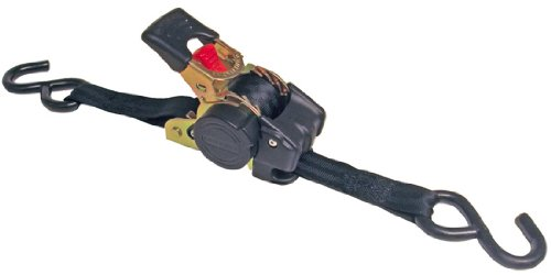 """Erickson 34415 Pro Series Black Retractable Ratcheting Tie-Down Strap (Pack of 2, 1"""" x 10"""