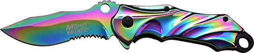 MTech USA Taschenmesser MT-A888 Serie, Messer REGENBOGEN DESIGNER RILLEN TITAN Griff, scharfes Jagdmesser, Outdoormesser 9,53 cm ROSTFREI Klinge Halbgezahnt, Klappmesser für  Angeln/ Jagd