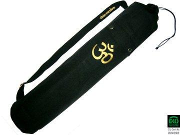 Borsa per tappetino da yoga, 100% cotone biologico, 80 cm X 15 cm, colore: nero