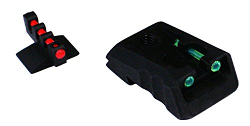 FUSION 1911 Compatible with Kimber Style Fixed Green Fiber Optic Sight, Front Red Contour Base Sight Set