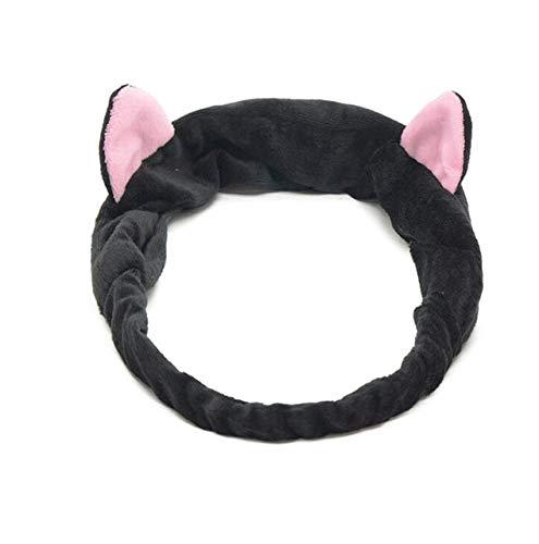 8 PcsBig Rabbit Ear Coral Fleece Head Band Soft Elastic Hair Ribbon SPA Bath Shower Make Up Wash Face Headband Hair Band Headwear ear black