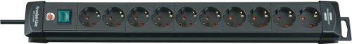 Brennenstuhl Premium-Line Stekkerdoos, 10-voudig (stekkerdoos met schakelaar en 3 m kabel -45 ° hoek van de geaarde stekkerdozen), kleur: zwart Single zwart