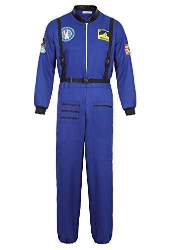 Rosfajiama Disfraz De Astronauta Adulto Hombre NASA Cosplay Navidad Disfraz Halloween Hombre Traje Astronauta Azul