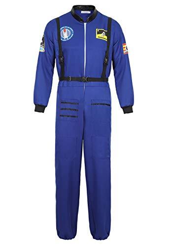 Rosfajiama Astronaut Kostüm Weltall Astronautenkostüm Herren Cosplay Astronauten Kostüm Herrenkostüme Karneval Herren Blau