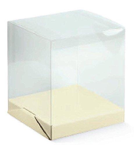 Scatola Trasparente PVC cm18x18 Alta 20 -con fondino Confezione Bomboniera Regalo Matrimonio testimoni 14575/c
