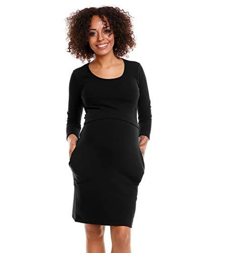 Selente Mummy Love 1445 modisches Umstandskleid (Made in EU) Schwangerschaftskleid Umstands-Freizeitkleid, 3/4-Ärmel Schwarz, Gr. S/M