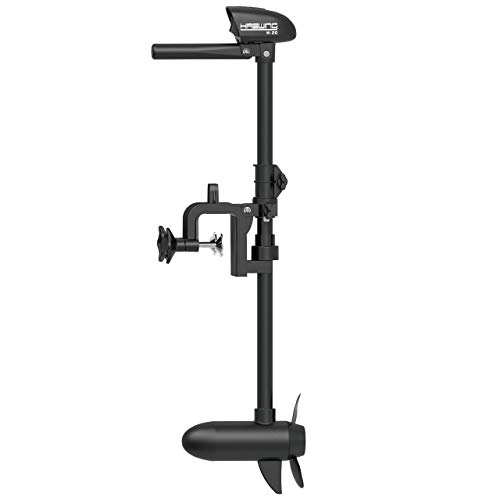 AQUOS Haswing 12V or 24V Transom Trolling Motor for Saltwater, Freshwater Fishing (Hand Control 12V 20LBS)