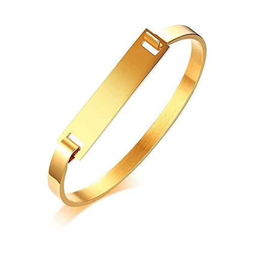 chaosong shop Pulsera minimalista de acero inoxidable con forma de D con nombre personalizado y monograma, color dorado y plateado