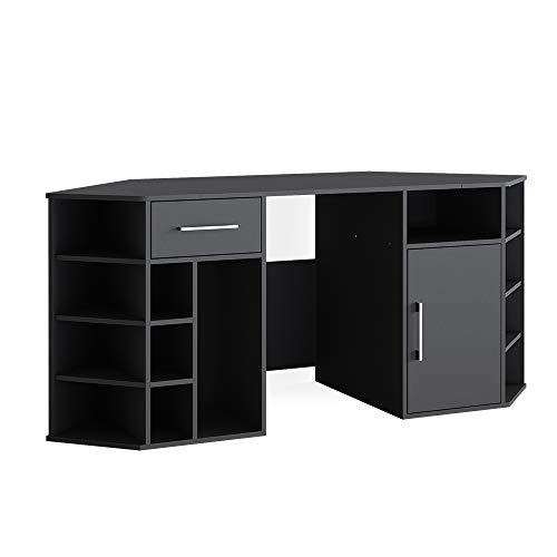Vicco Schreibtisch Computertisch Arbeitstisch Houston Bürotisch PC Tisch Ablagen (Schwarz)